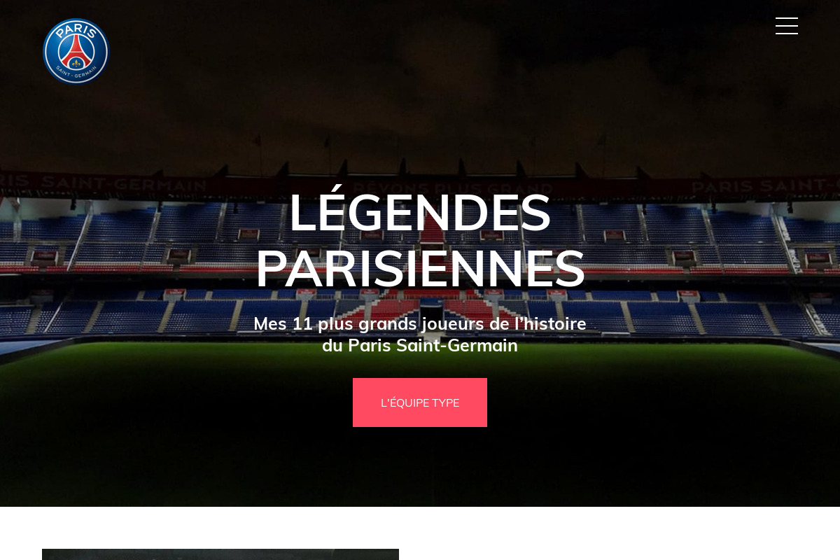 Présentation du design : Paris Saint-Germain — Légendes